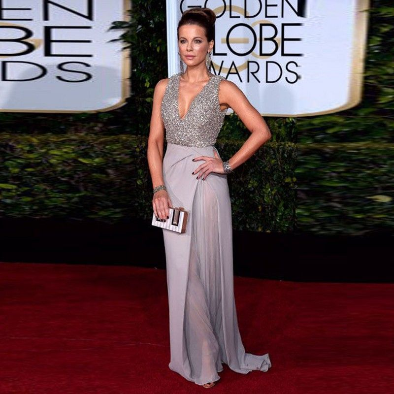 Kate Beckin Dress Floor Length Silver Sequined V Neck Chiffon Elegant Celebrity Dresses 2017 Golden Globe