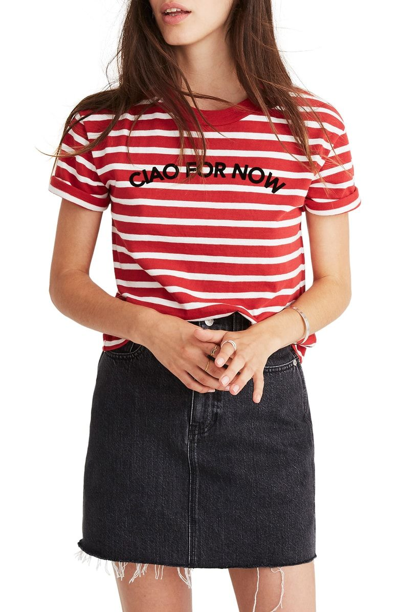 Free shipping and returns on Madewell Stripe Ciao for Now Tee (Regular   Plus  Size) at Nordstrom.com. Boxy and cropped 573e36afb4af