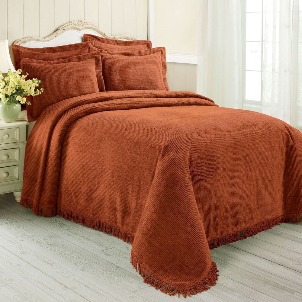 100 Cotton Chenille Classy Bedspread Orange Spice Color