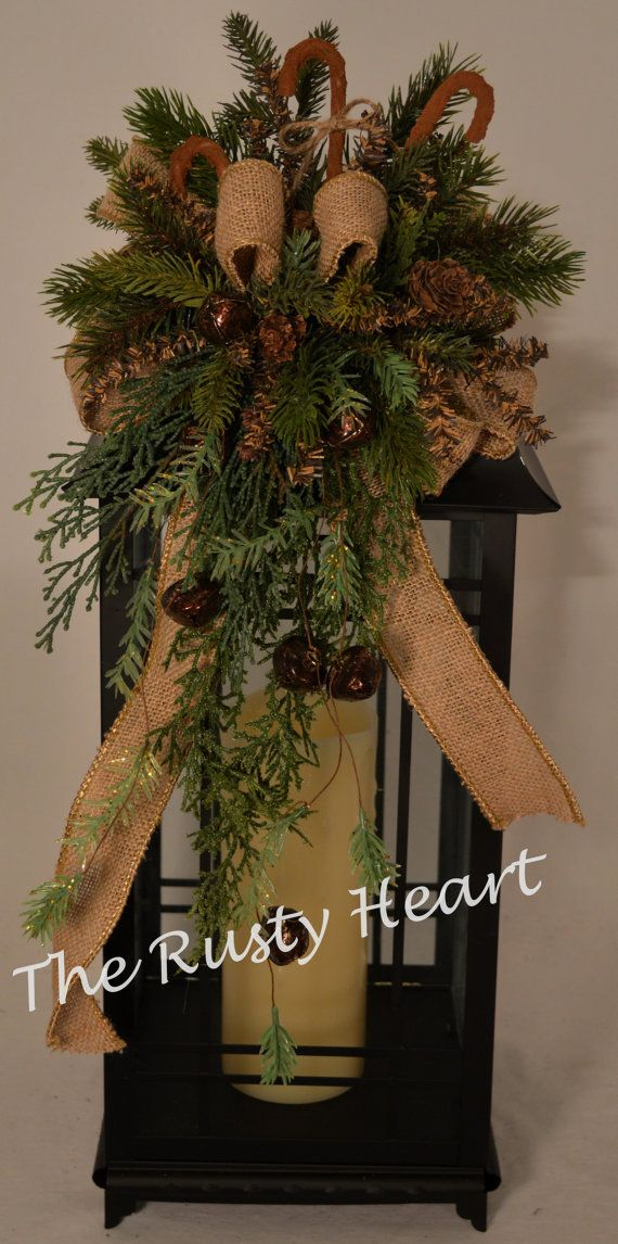 Christmas lantern swag with burlap ribbon and by for Decorating with burlap ribbon for christmas
