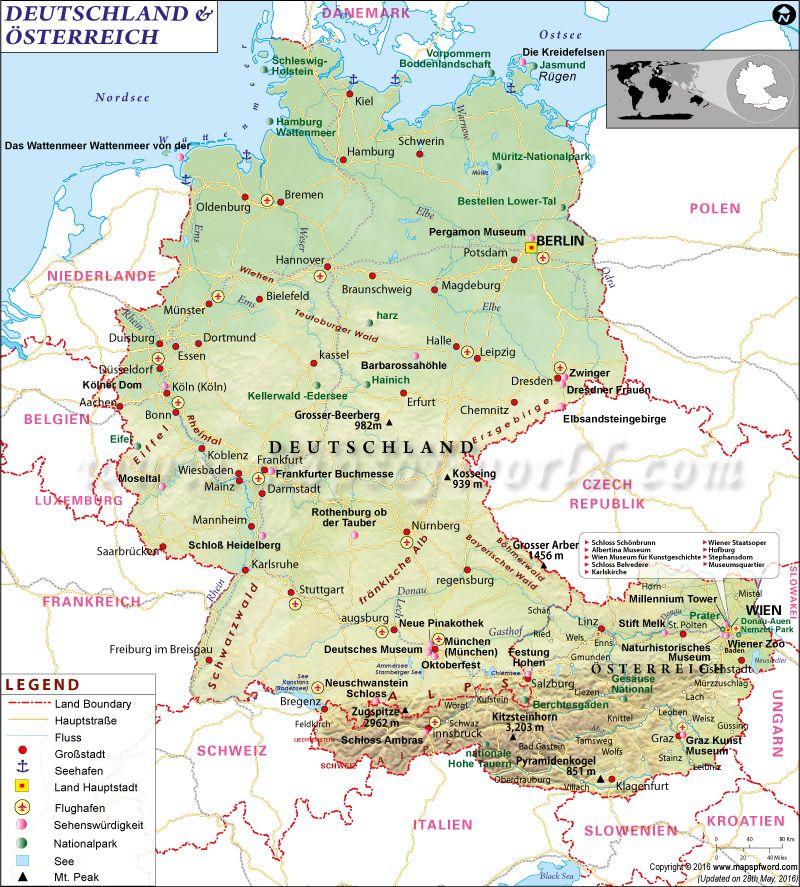 Karte Von Deutschland Und Osterreich Karte Weltkarte Europakarte Deutschlandkarte In 2020 Germany Map Germany Austria Map
