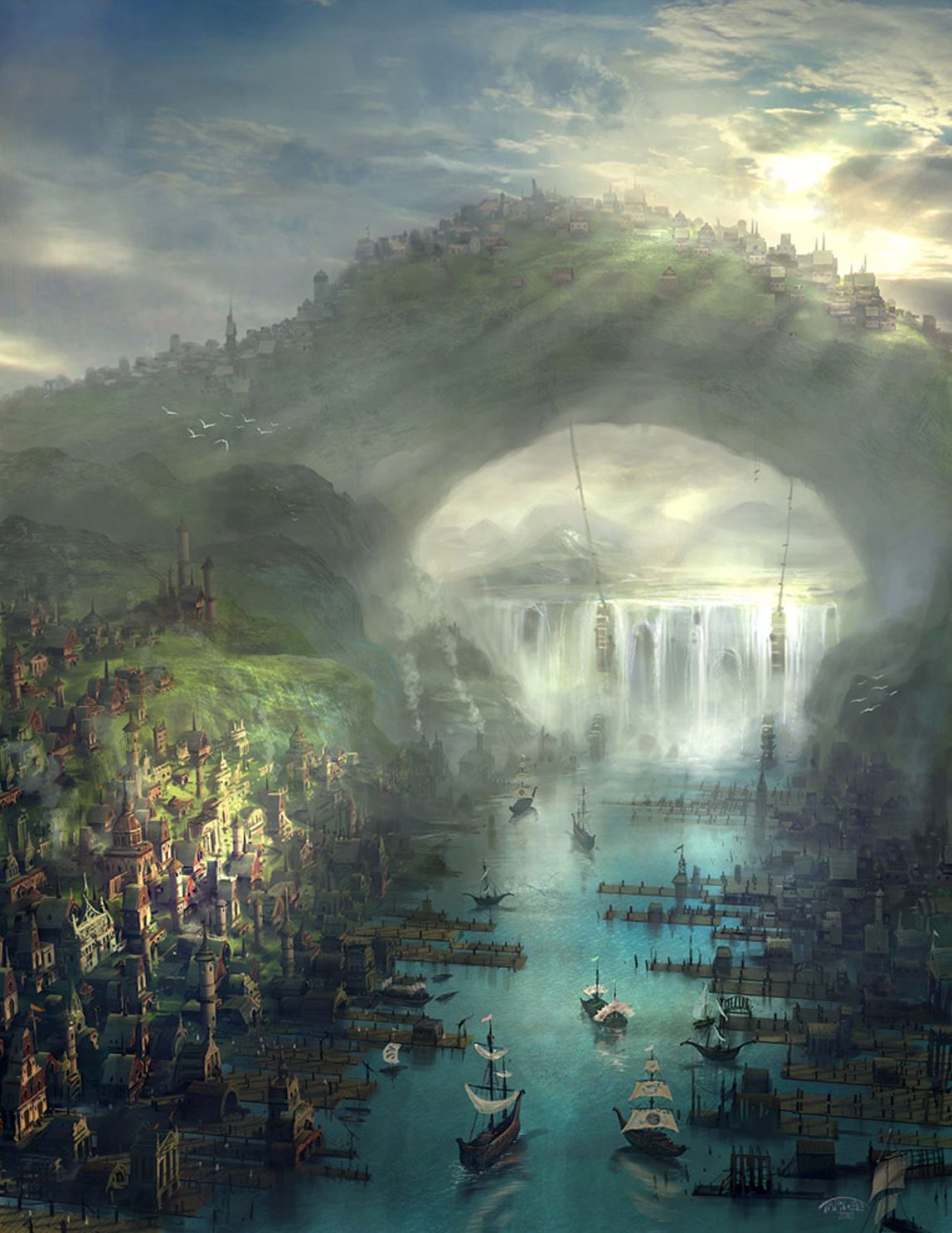 HUMAN LAND ** typical port city, populated by sorcerers