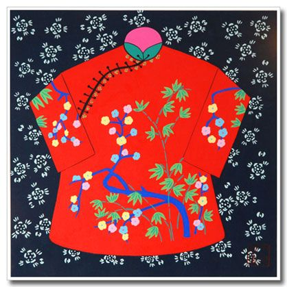 Chinese folk art, peasant painting, red Chinese jacket.Gouache on rice paper