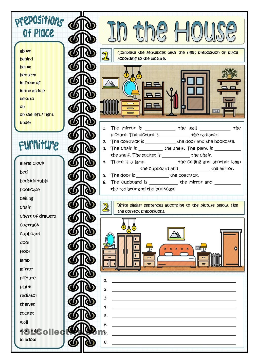 medium resolution of IN THE HOUSE - PREPOSITIONS OF PLACE   Preposition worksheets