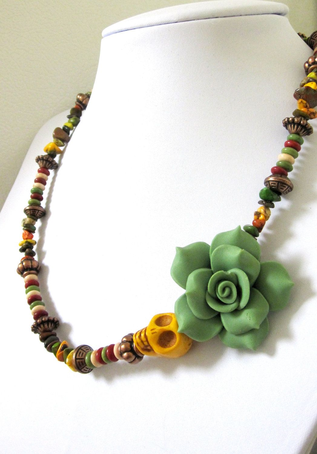 Green sugar skull necklace day of the dead jewelry for Mustard colored costume jewelry