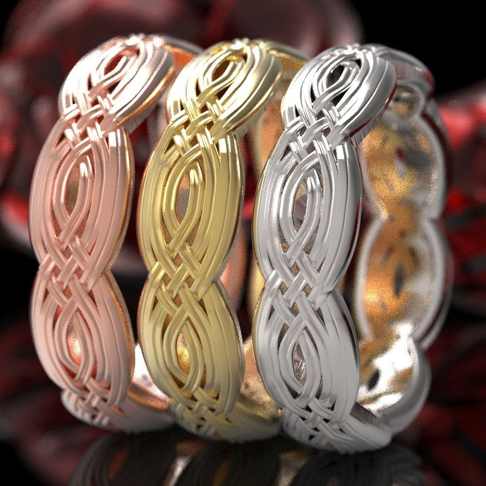 Braided Celtic Knot Ring, Unique Wedding Band, Celtic