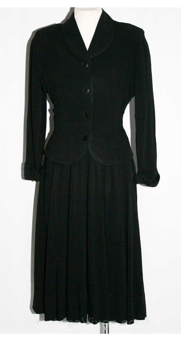 40s Black Crepe Full-Skirted Dress & Jacket
