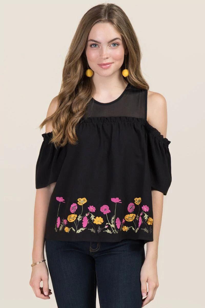 e7b6634712b249 Billie Embroidered Floral Cold Shoulder Top