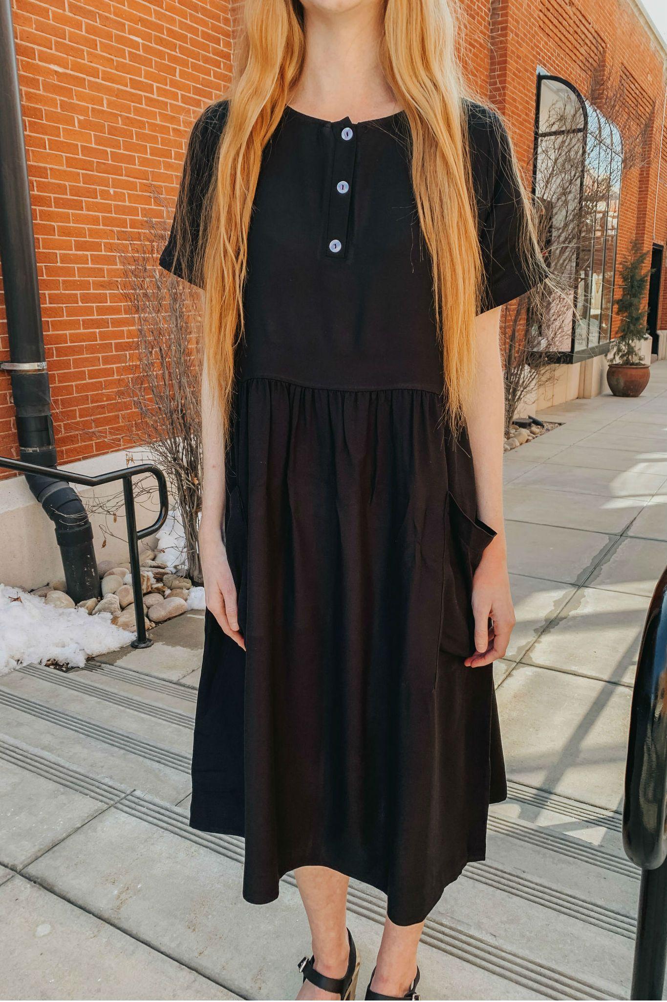 4b6d7ffe4db Ashley Button Dress in Black – CLEO MADISON