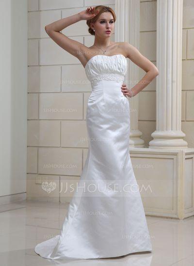 Corte trompeta/sirena Escote corazón Barrer de tren Satén Vestido de novia con Bordado.