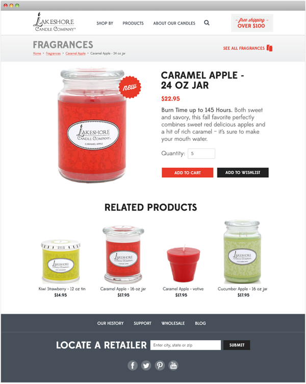 Lakeshore Candle Responsive Website By Amy Snell Via Behance With Images Red Delicious Apples Candles Apple New