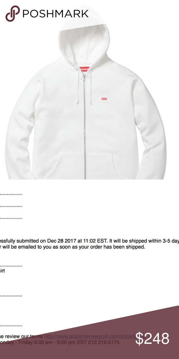 ffdd071123d Supreme Small Box Zip Up Sweatshirt White XL White Small Box Logo Zip Up  Sweatshirt Size  XL Sold Out Online Will ship immediately when received  Free ...