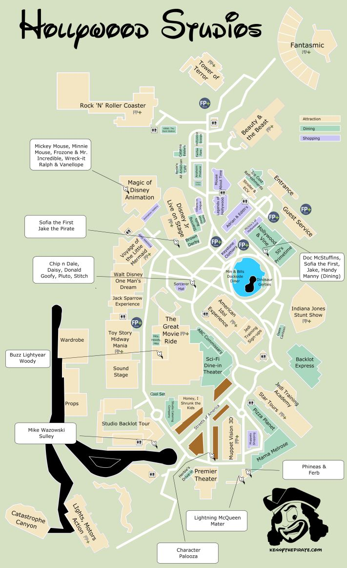 Hollywood Studios Map including Fastpass plus locations, rides ...