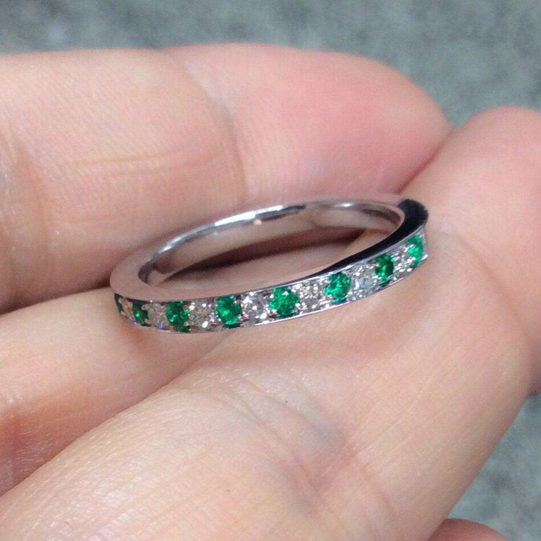 Half Eternity Pave Band with Alternating Emeralds & Diamonds 2mm ...