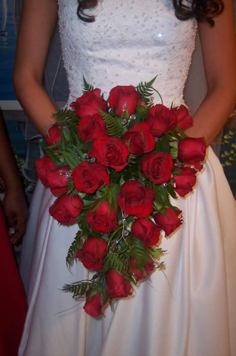 Red Rose Wedding Bouquet Bridal Roses