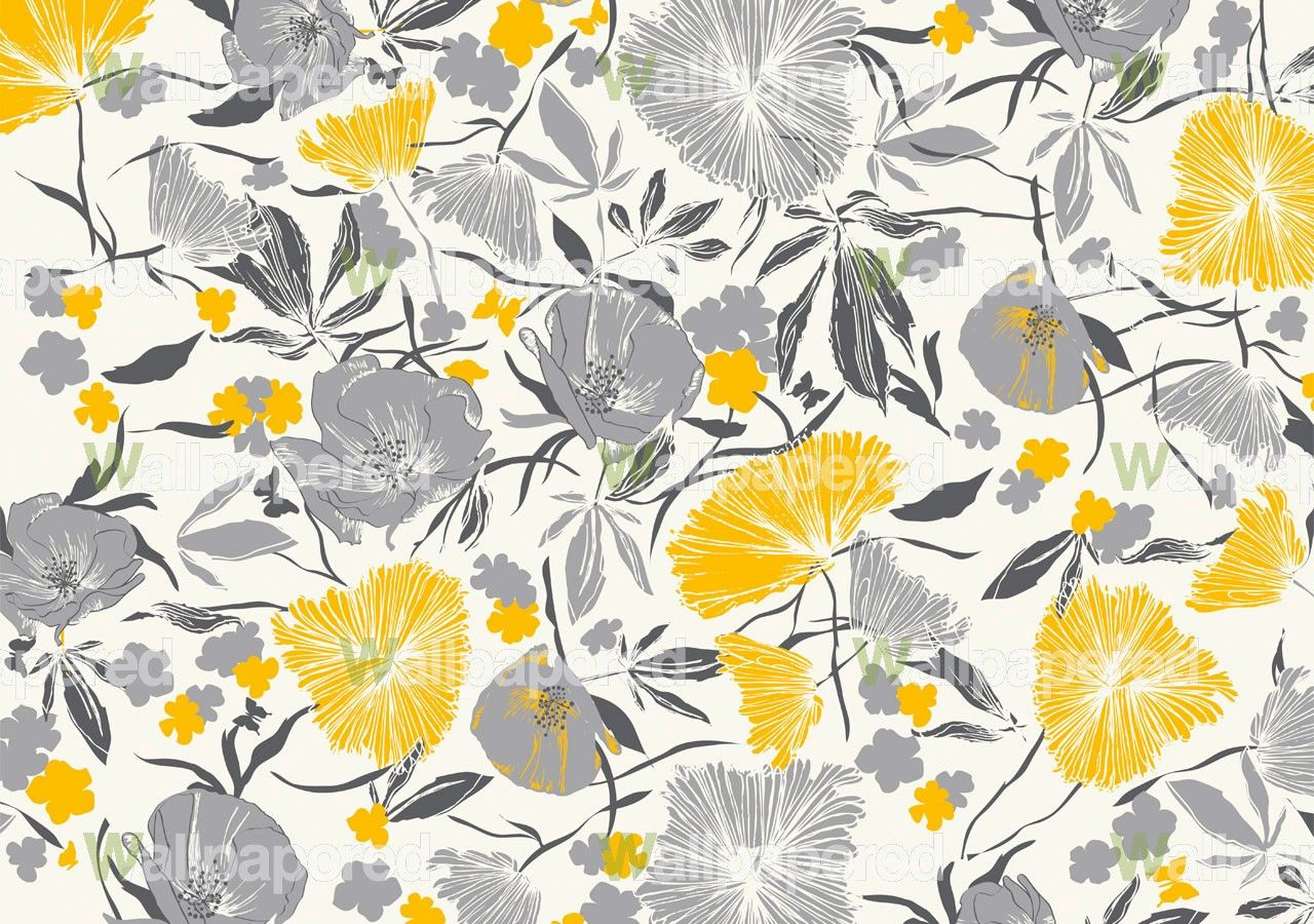 Black And White Floral Mural For The Home Pinterest Wallpaper