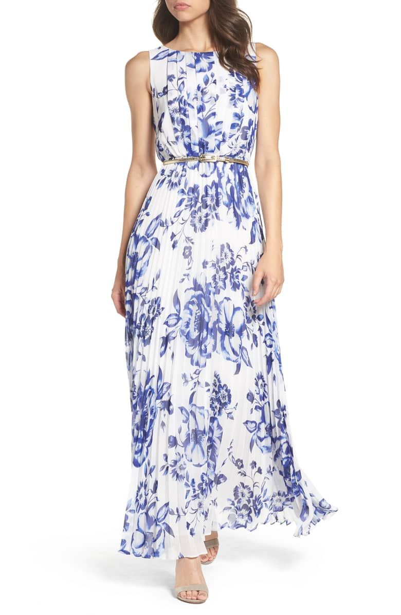 Eliza J Pleated Floral Chiffon Maxi Dress (Regular & Petite