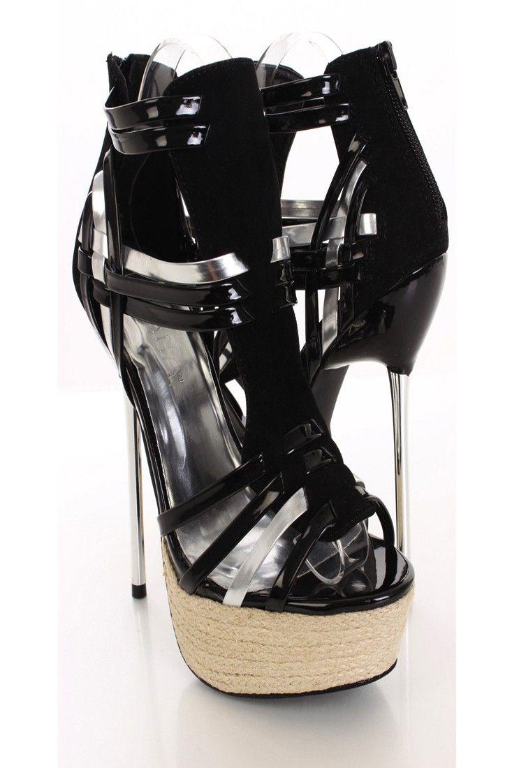 Glamour Black Open Toe Heels