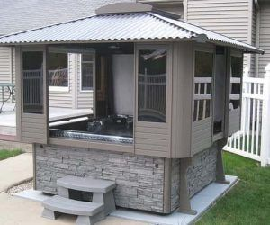 10 Hot Tub Enclosure Winter Ideas That You Have To Build At Home Hot Tub Landscaping Hot Tub Cover Tub Enclosures