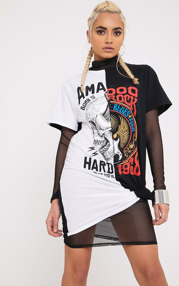 Black Spliced T Shirt DressWe are totally dreaming over this lust-worthy T shirt dress! Turn your...