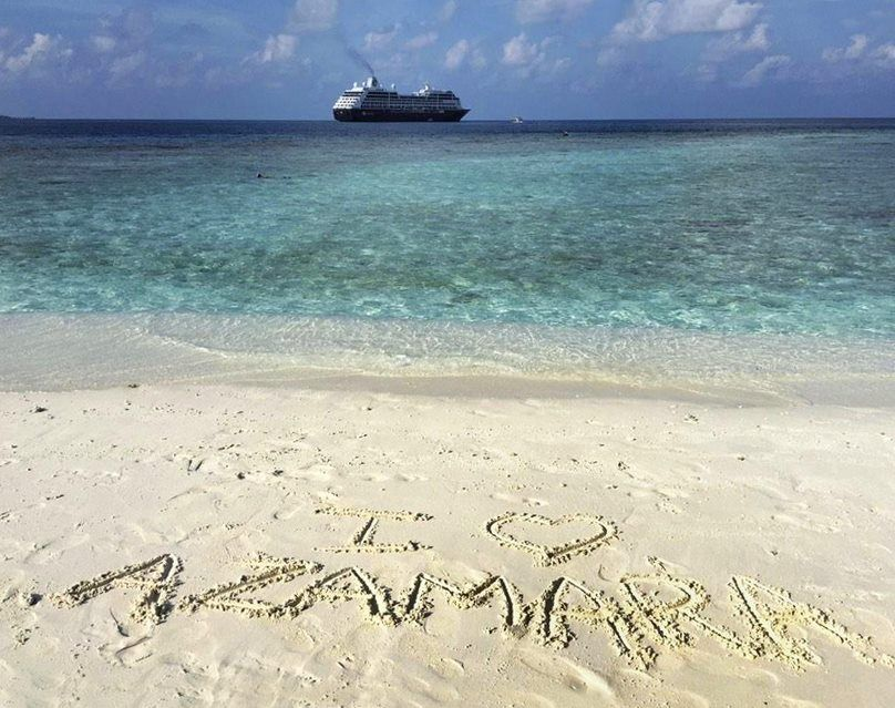 Azamara cruise ship in the beautiful Maldives! A beach day on a private island is not so bad.