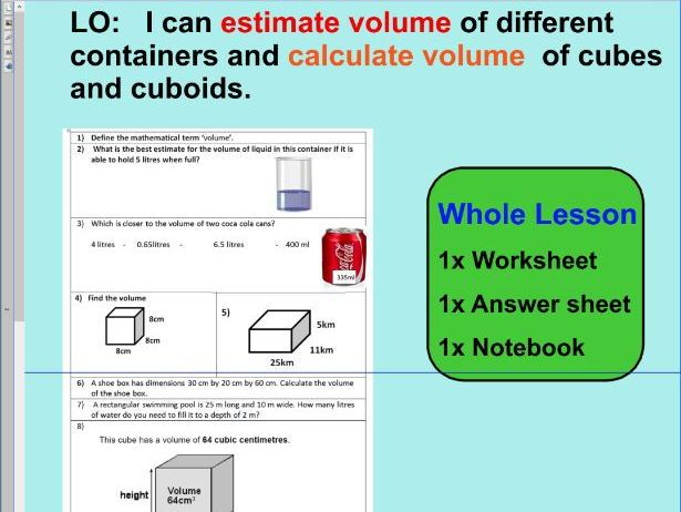 Whole Lesson Estimate Volume Calculate Volume Applying Problems Ks2 Year 5 6 Volume Lessons Lesson How To Apply