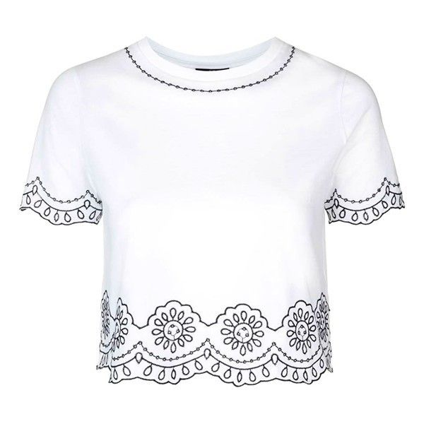 6d11a16e94685 Petite Topshop Embroidered Crop Tee ( 40) ❤ liked on Polyvore featuring tops