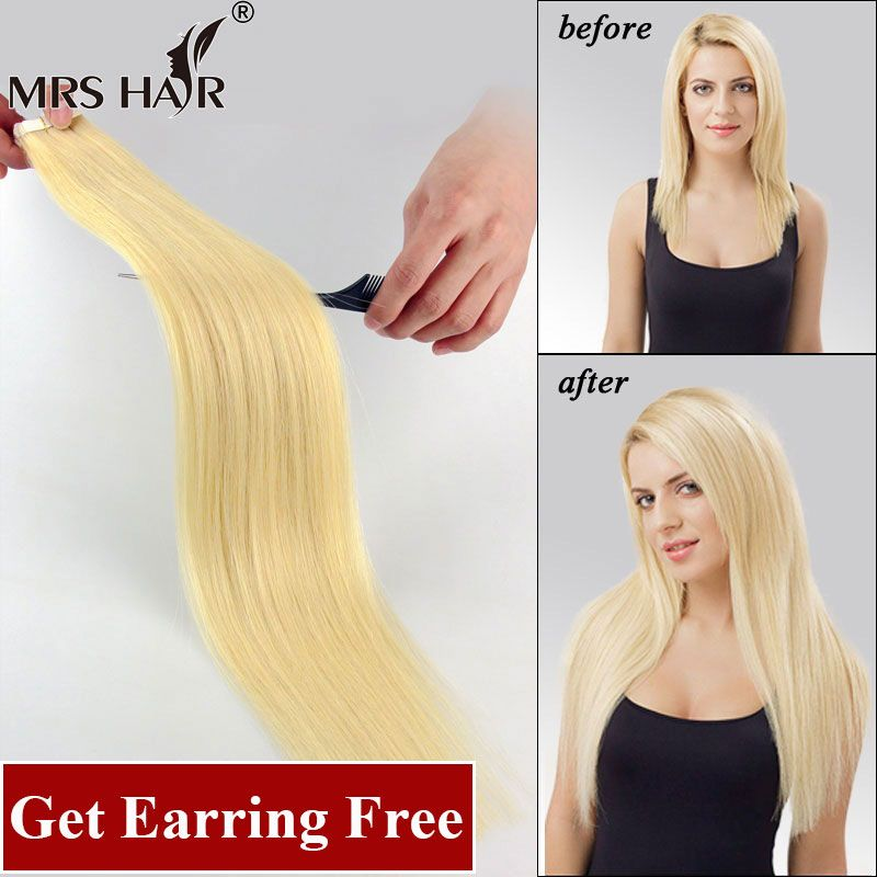 Tape In Human Hair Extensions 20pcs Adhesive Skin Weft Hair