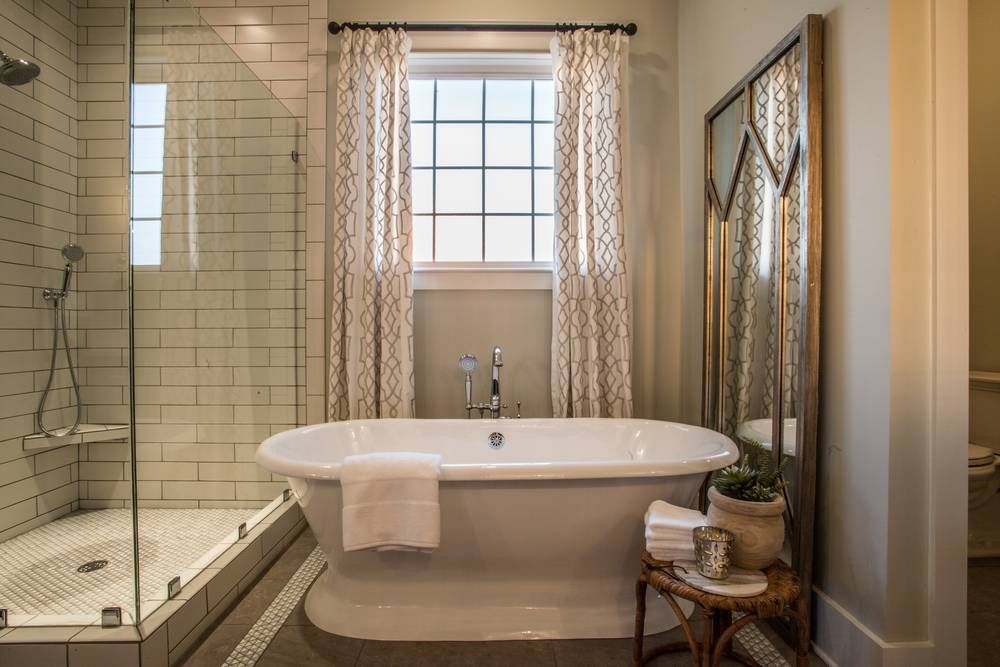 House For Hope Tennessee Master Bathroom Freestanding Tub.  Built by Carbine & Associates.  Design by ReFresh Home.  Photo by Sam Carbine.