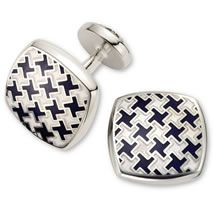 Navy cushion puppytooth enamel cufflinks - Charles Tyrwhitt