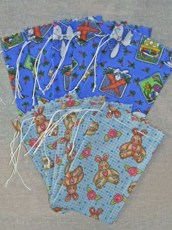 Fabric Easter Drawstring Gift Bags by acraftingheart on Etsy