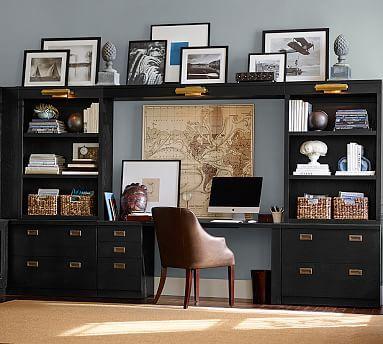 Reynolds Modular Home Office Corner Hutch Artisanal Black Finish