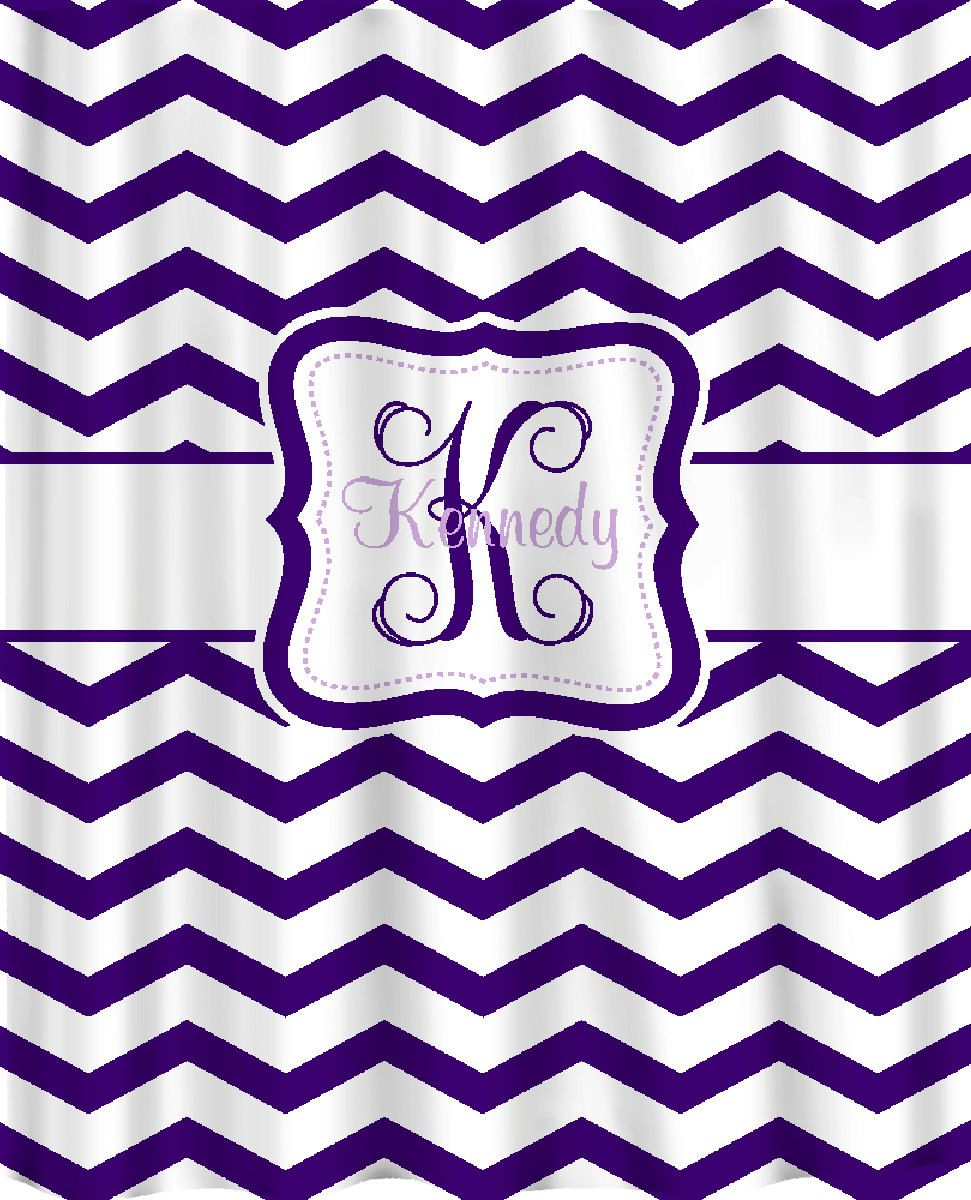 Personalized Shower Curtain - Dk Purple & White Chevron -Light Purple Accent. $78.00, via Etsy.