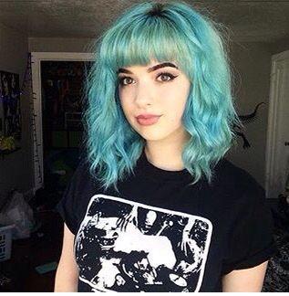 Short Medium Cross Bangs Blue Hair Hair Styles Blue Hair Dyed Hair