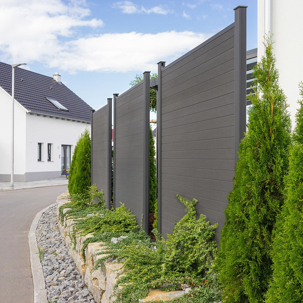 Home Deluxe Wpc Sichtschutzzaun V2 Element 2 X Pfosten Mit