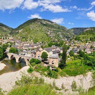 The Little Village Of Sainte Enimie Lozere France At The Entrance Of The Gorges Du Tarn Seen From A Picnic A Saint Enimie Parc National Des Cevennes Lozere