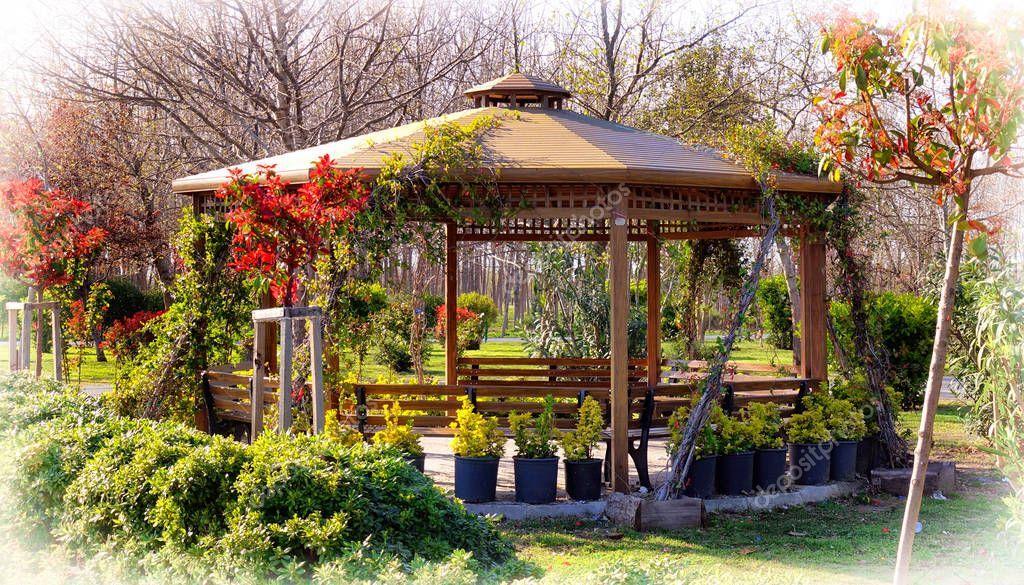 Spring Blooming Garden Wooden Cozy Arbor - Stock Photo , #Affiliate, #Garden, #Wooden, #Spring, #Blooming #AD