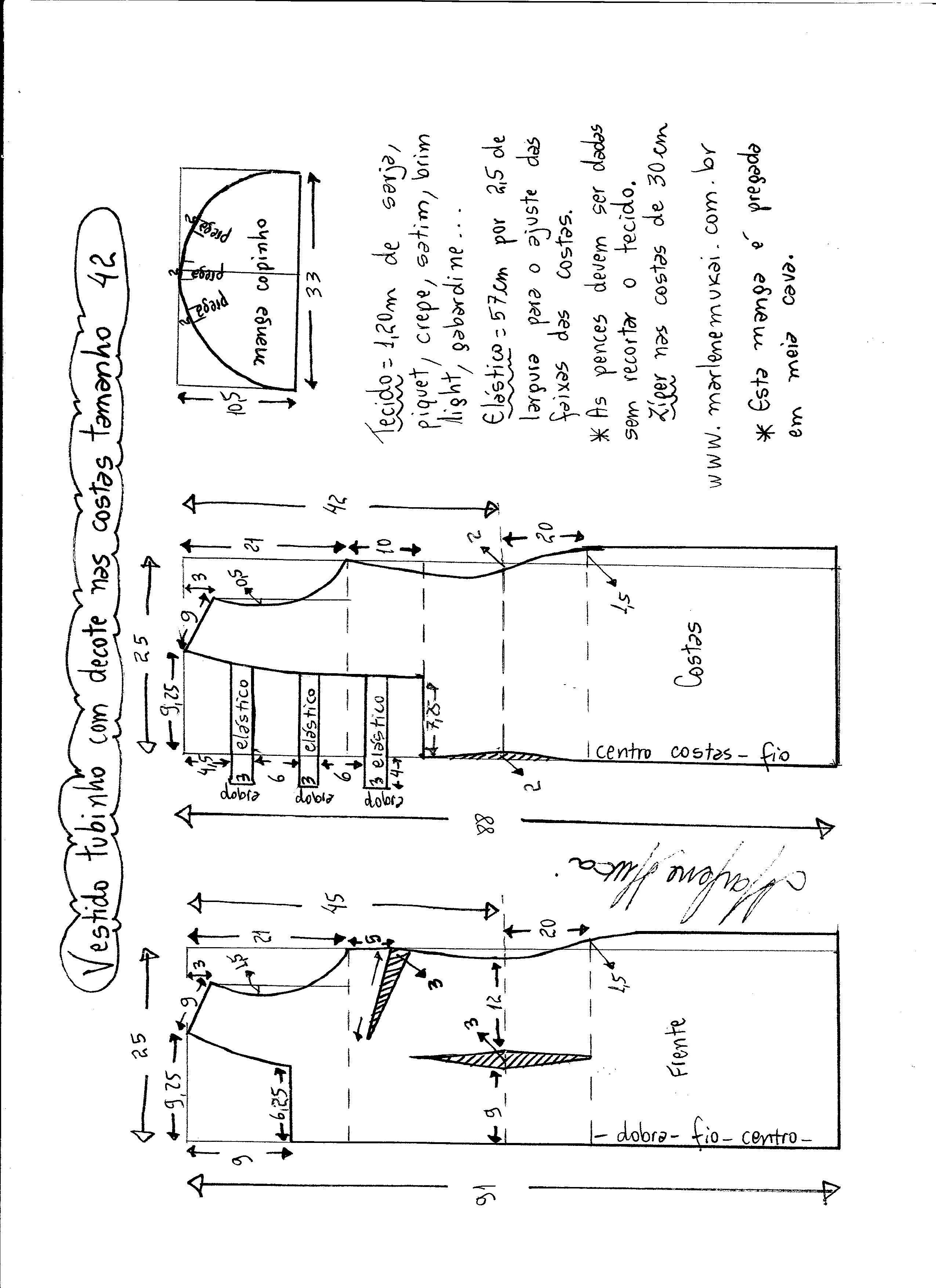 Patrón de vestido tubo con escote en la espalda | patrones | Pinterest