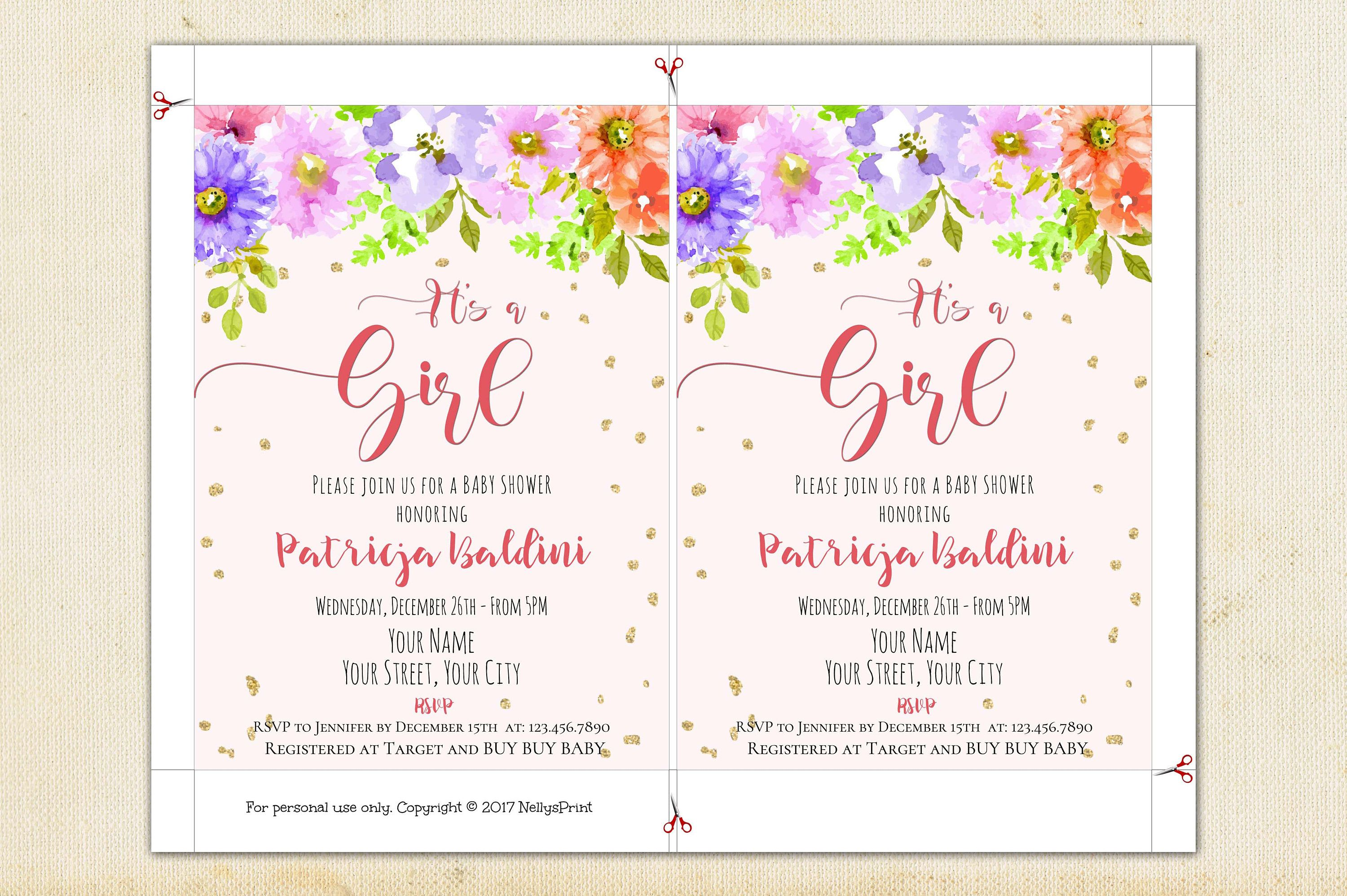 Baby Shower Invitation Girl, Its A Girl Baby Shower Invitations ...