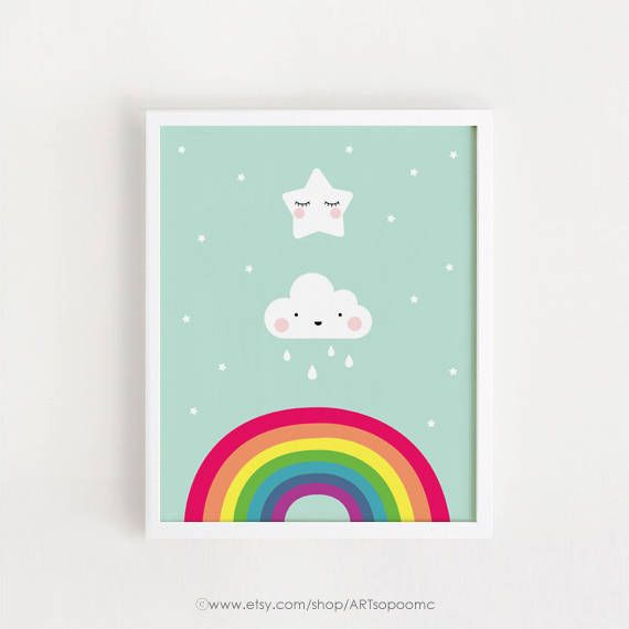 Modern Kawaii Star Rainbow Scandi Print Nursery Wall Art Kids Baby Room Picture