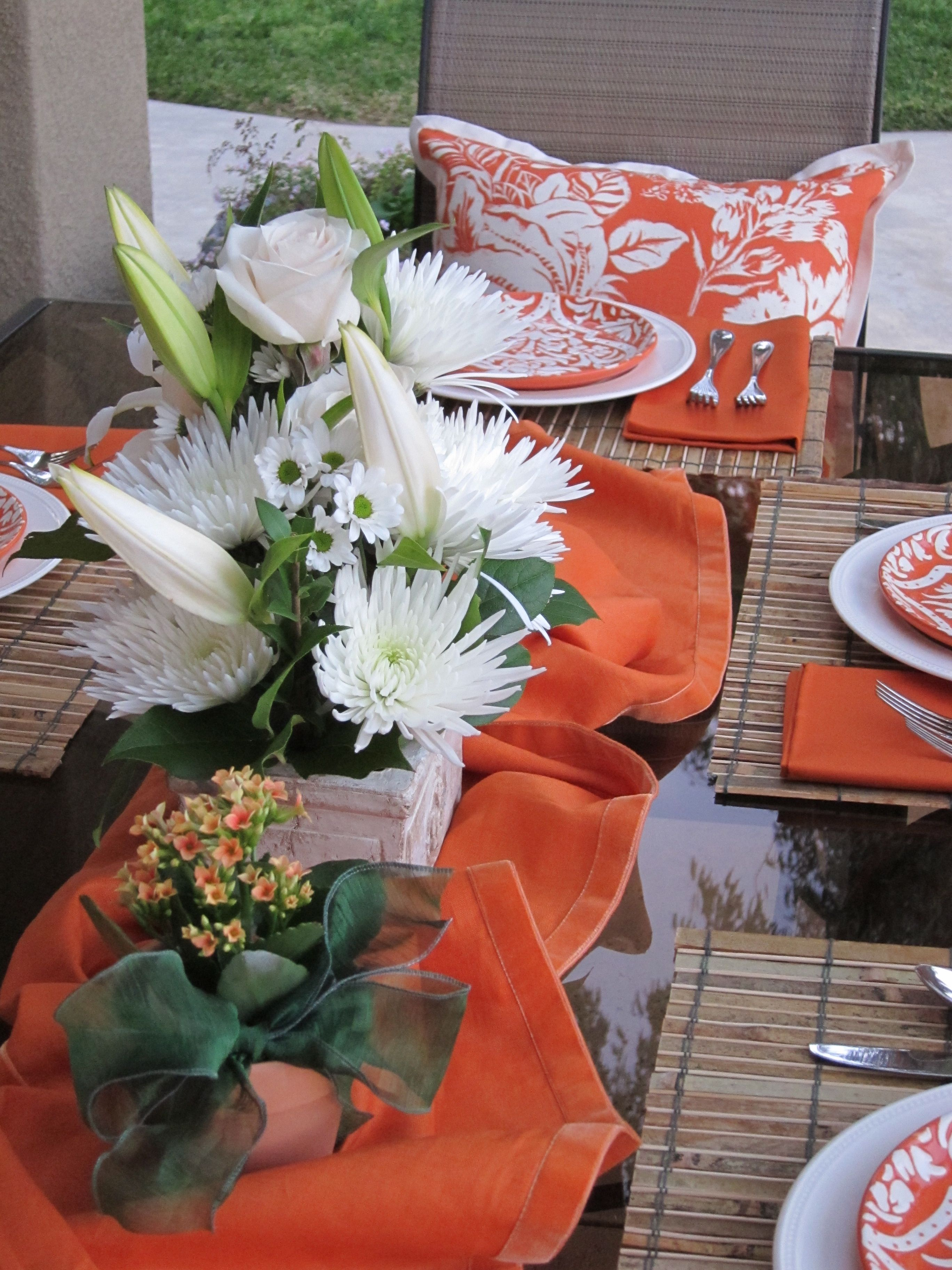 Orange And White Table Setting For Summer