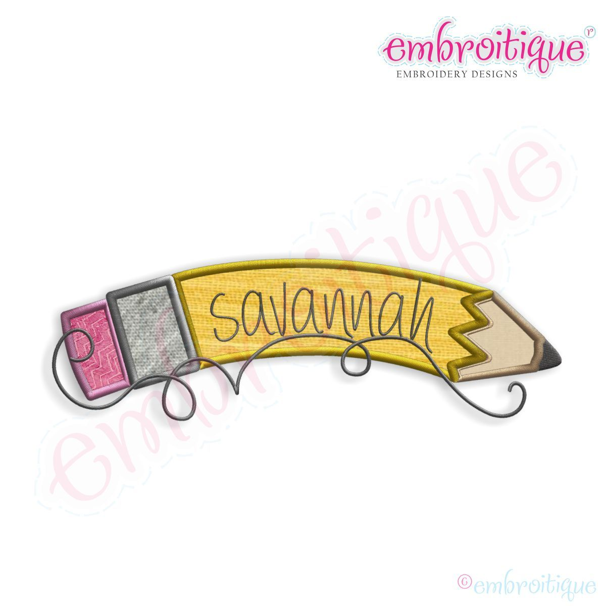 july sept back to school curved pencil name frame applique on sale now at - Name Frame