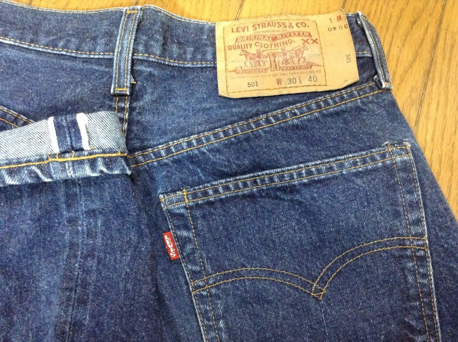 1f220d02 Levis 501 Big E Selvedge 555 Made in Valencia USA Paper Label 29x35 | eBay