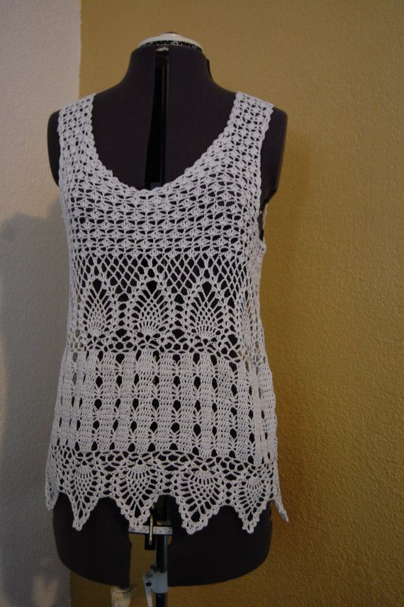 Pineapple Lace Tank Top Uses Size 10 Cotton Crochet Thread