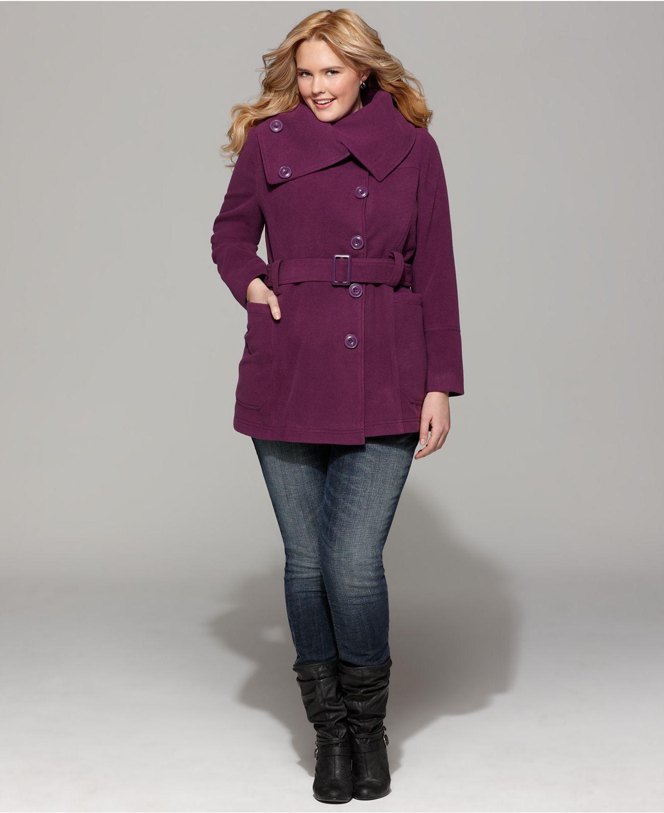 d62b0bb75ac Dollhouse plus size coat envelope neck belted coats plus sizes macys jpg  1320x1616 Dollhouse plus size