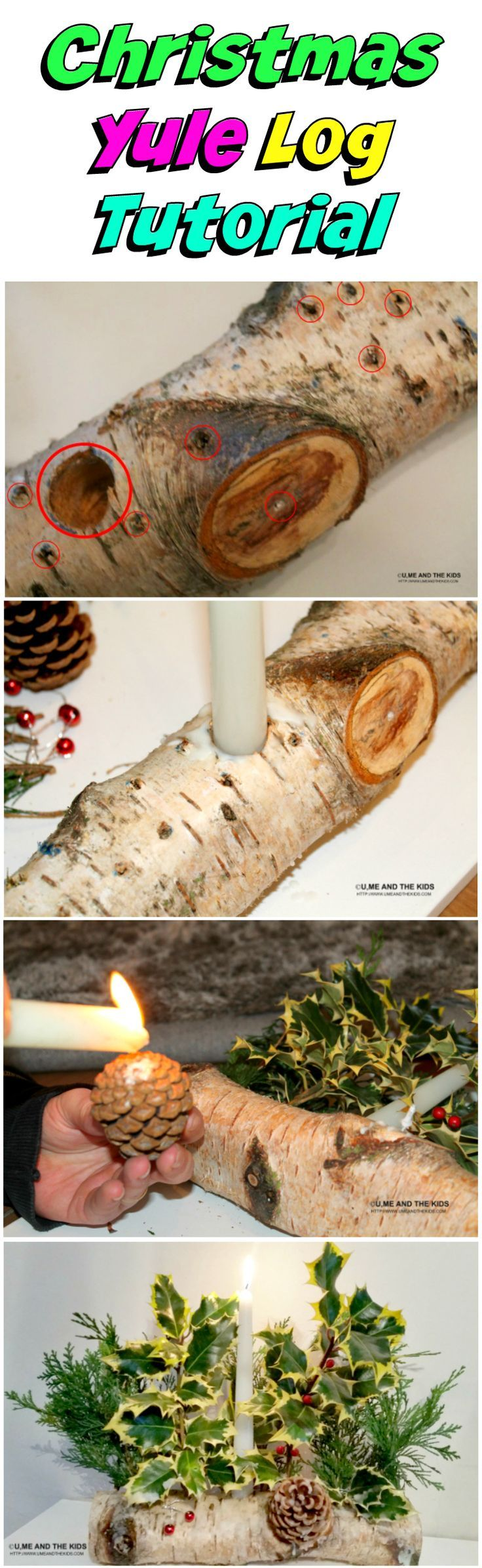 How to make a christmas yule log decoration - Easy Christmas Crafts For Kids Make A Natural Yule Log