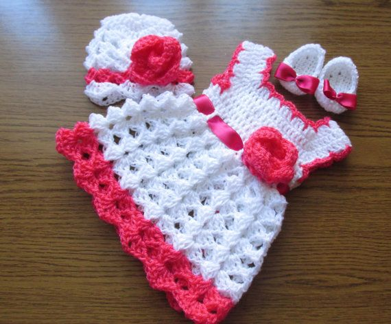 Crochet baby dress hat and ballerina shoes in white and hot pink ...