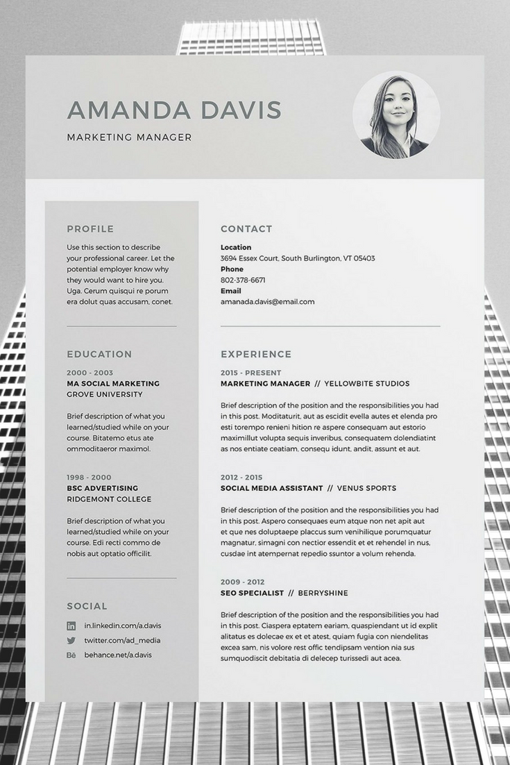 Indesign Resume Templates Amanda 3 Page Resumecv Template  Word  Photoshop  Indesign