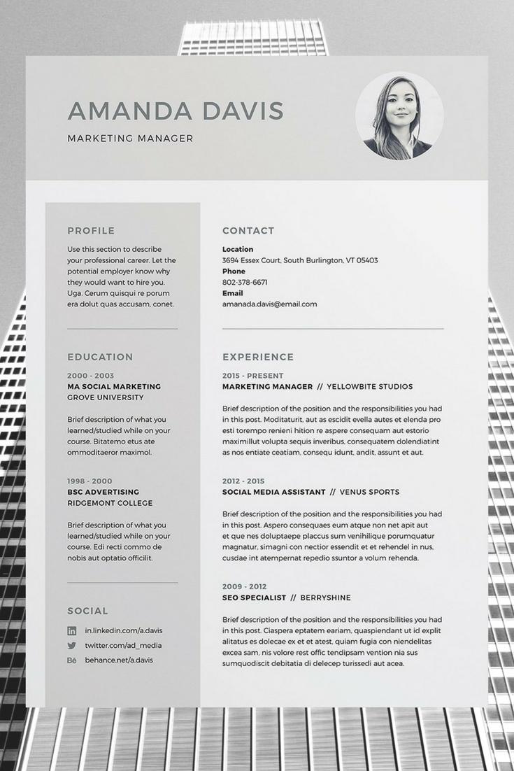 Amanda 3 Page Resume/CV Template Word