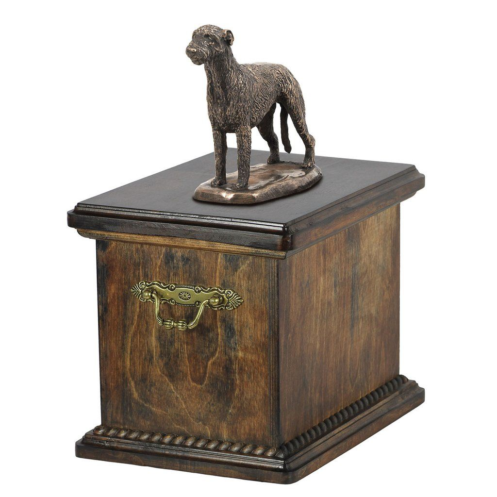 Solid Wood Casket Irish Wolfhound Dog Urn for Dog's ashes